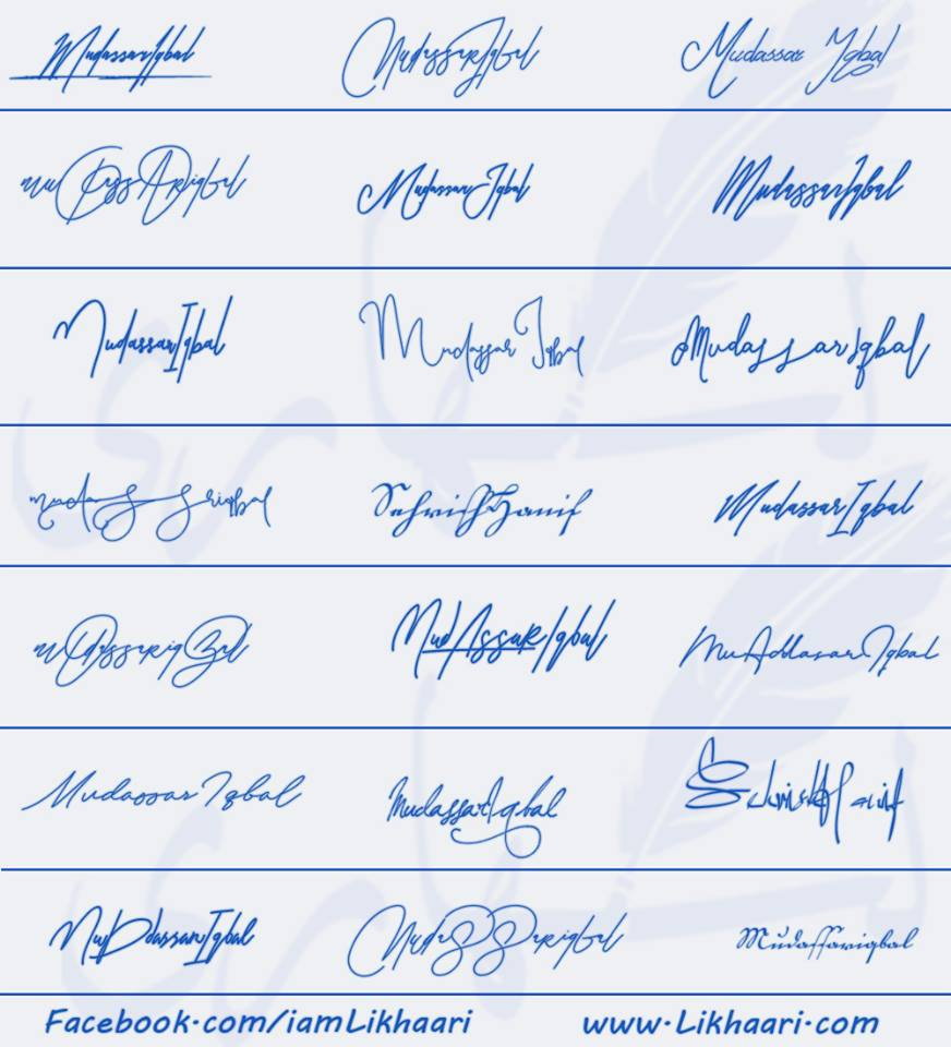 Signatures for Mudassar Iqbal