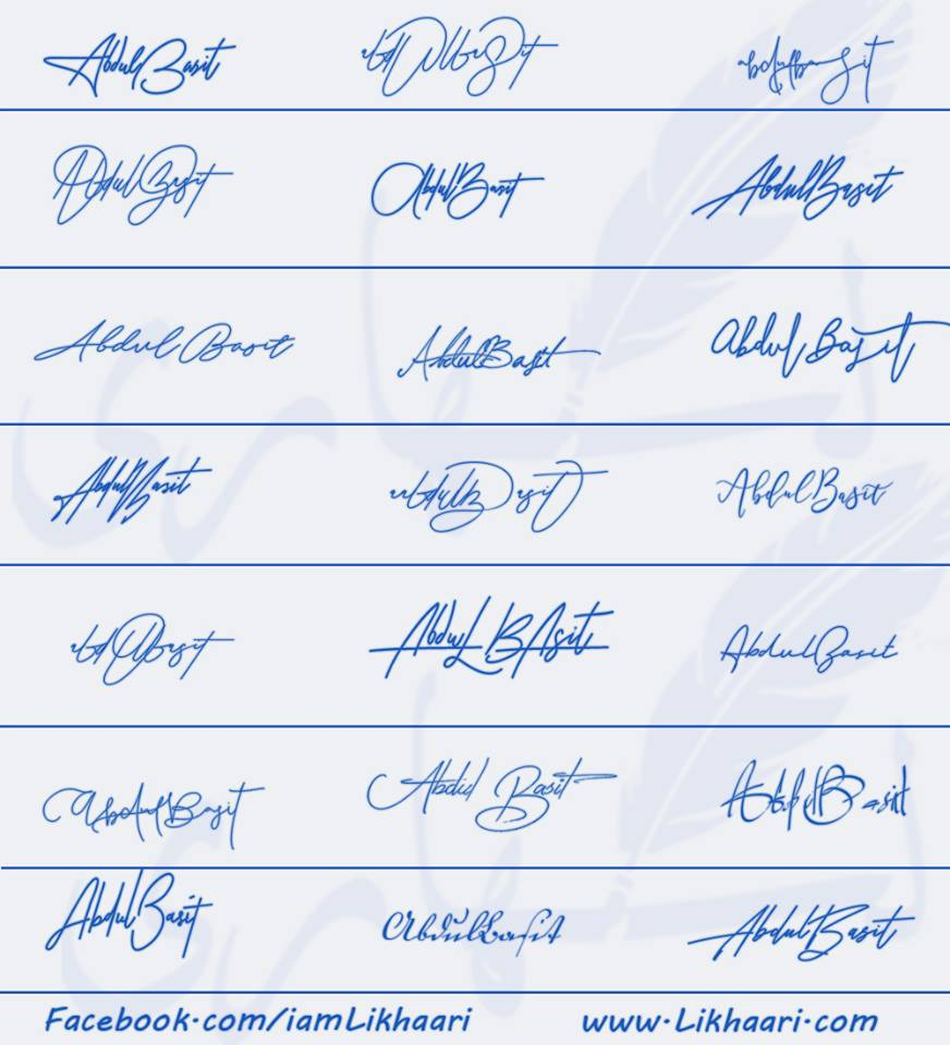 Signatures for Abdul Basit