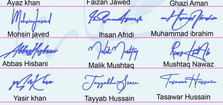 Handwritten 21 Name Signature pad